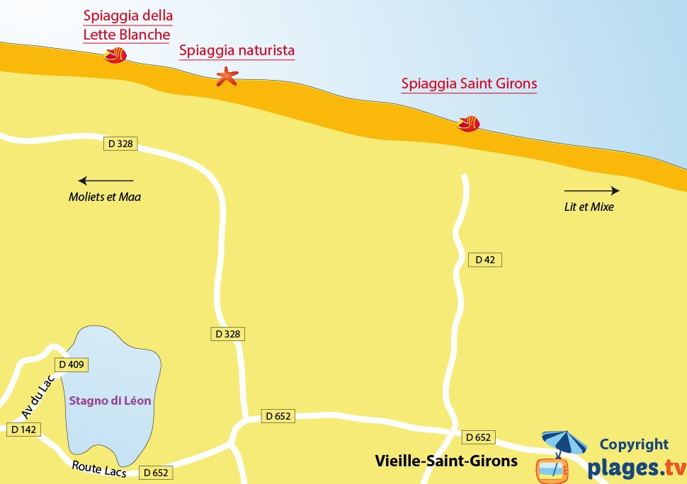 Mappa spiagge di Saint Girons in Francia - Landes