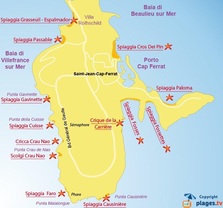 Mappa spiagge di Saint Jean Cap Ferrat - Francia