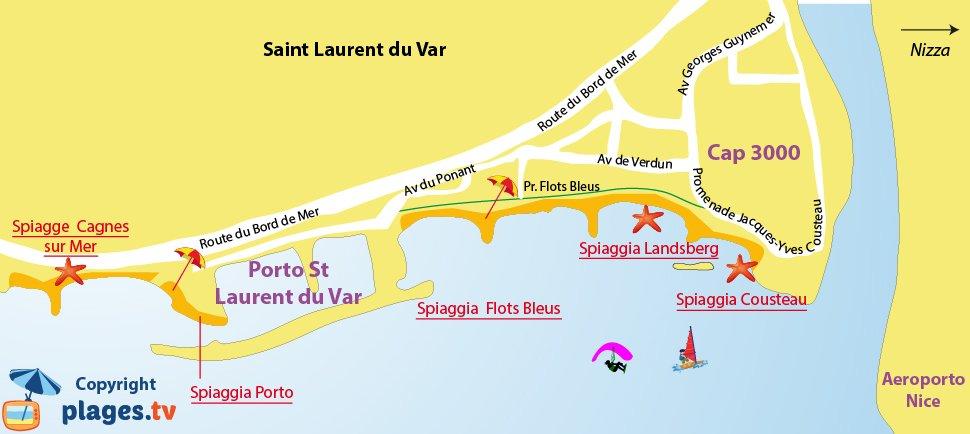 Mappa spiagge Saint Laurent du Var in Francia