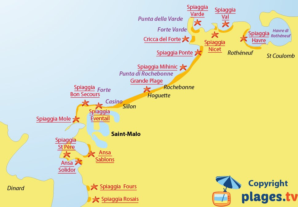 Mappa spiagge di Saint Malo in Francia
