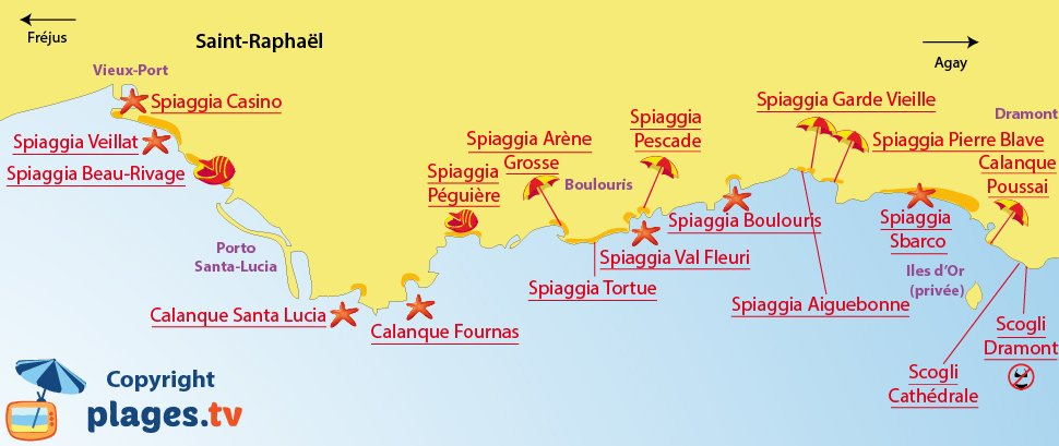 Mappa spiagge di Saint Raphael - Francia