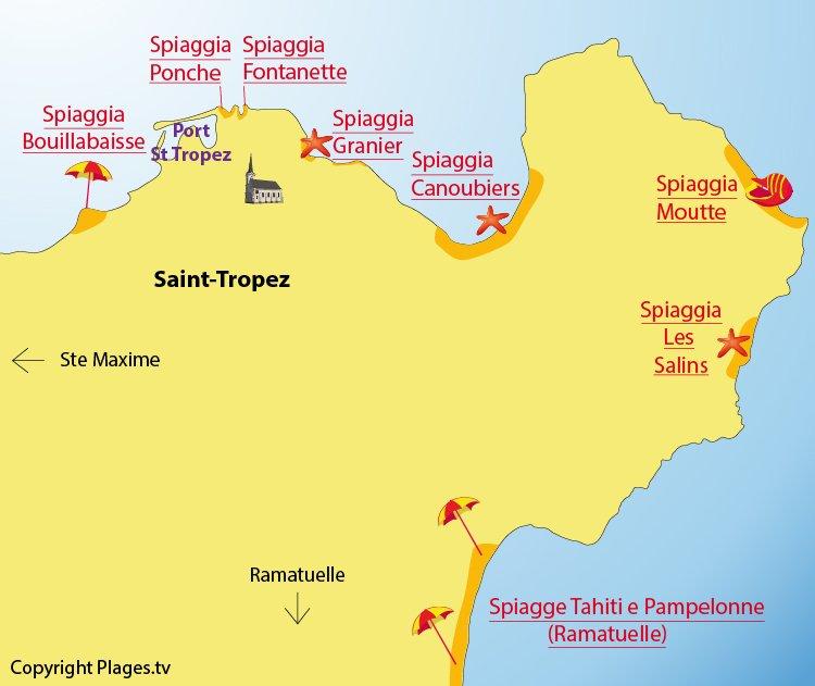 Mappa spiagge Saint-Tropez - Francia