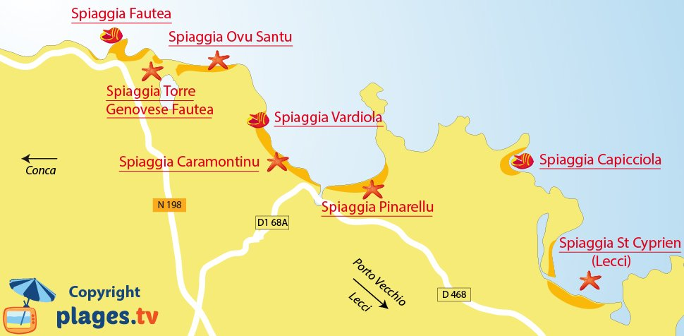 Mappa spiagge di Santa Lucia di Porto Vecchio - Corsica