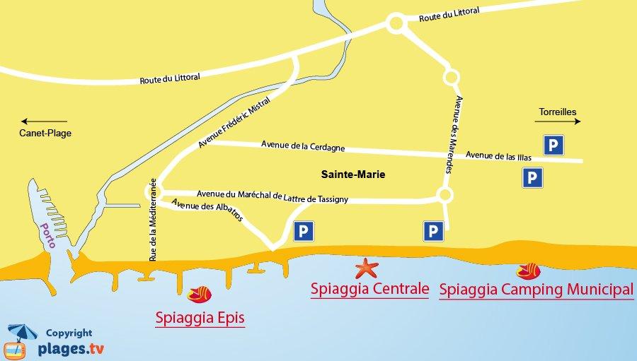 Mappa spiagge di Sainte-Marie - Francia