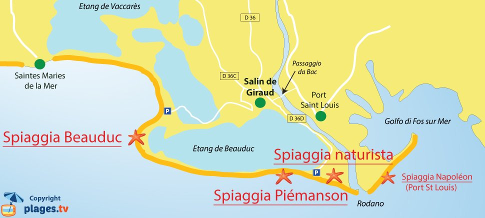 Mappa spiagge Arles (Salin de Giraud) - Francia