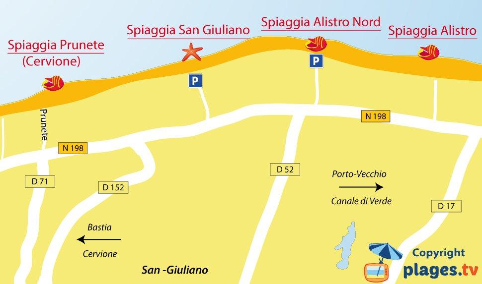 Mappa spiagge San Giuliano in Corsica