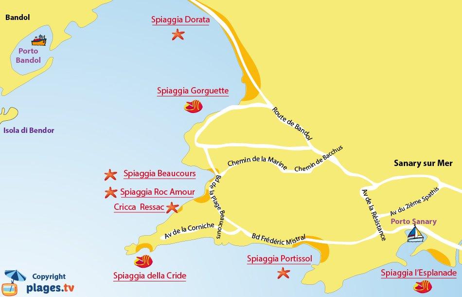 Mappa spiagge di Sanary sur Mer - Francia