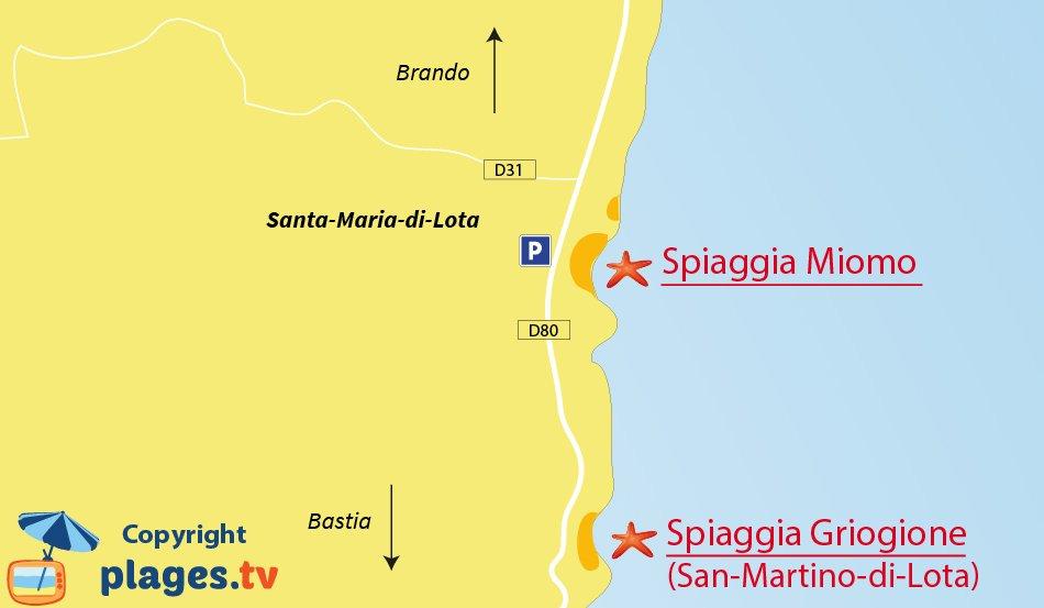 Mappa spiagge di Santa Maria di Lota - Miomo - Corsica