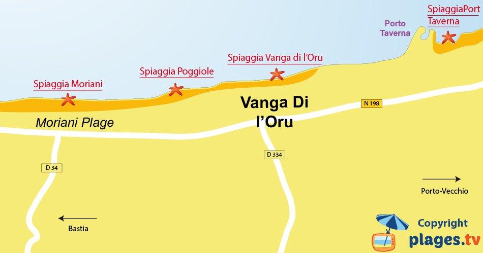 Mappa spiagge di Santa Maria Poggio in Corsica