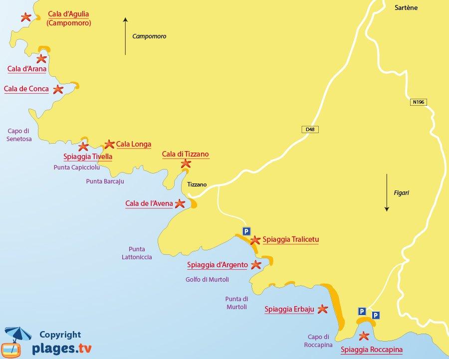Mappa spiagge di Sartène in Corsica