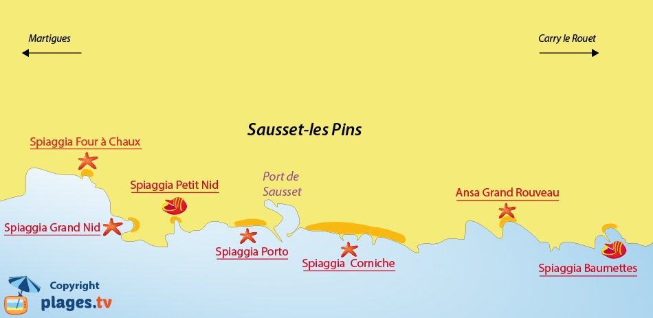 Mappa spiagge a Sausset les Pins - Francia