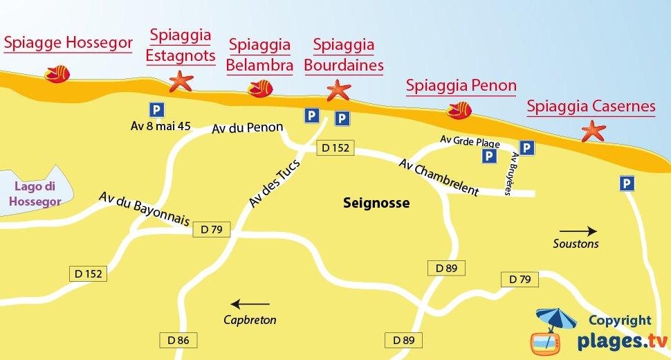 Mappa della spiagge di Seignosse in Francia