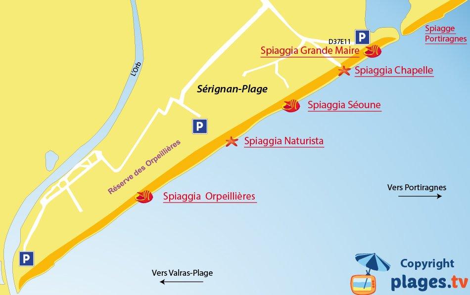 Mappa spiagge di S�rignan in Francia
