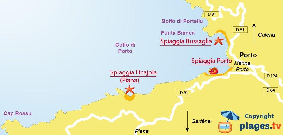 Mappa spiagge di Serriera in Corsica