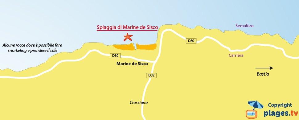 Mappa spiagge di Sisco - Corsica