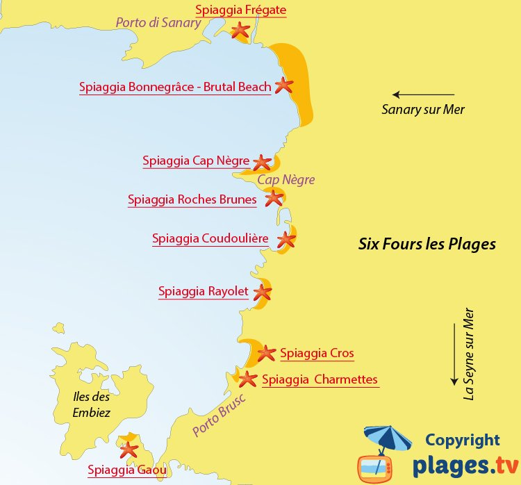 Mappa spiagge di Six Fours les Plages - Francia