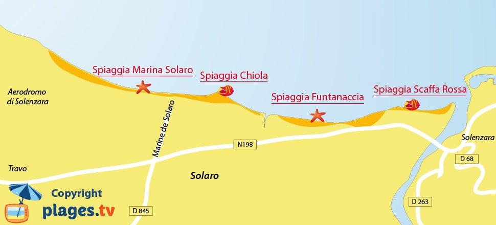 Mappa spiagge di Solaro in Corsica