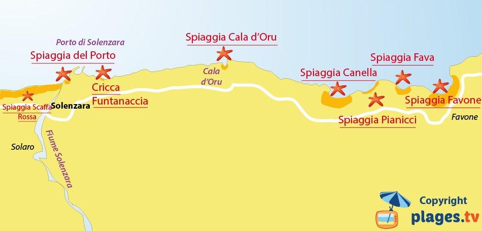 Mappa spiagge di Solenzara - Corsica