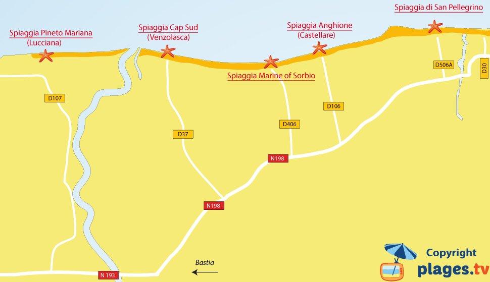 Mappa spiagge di Sorbo-Ocagnano in Corsica