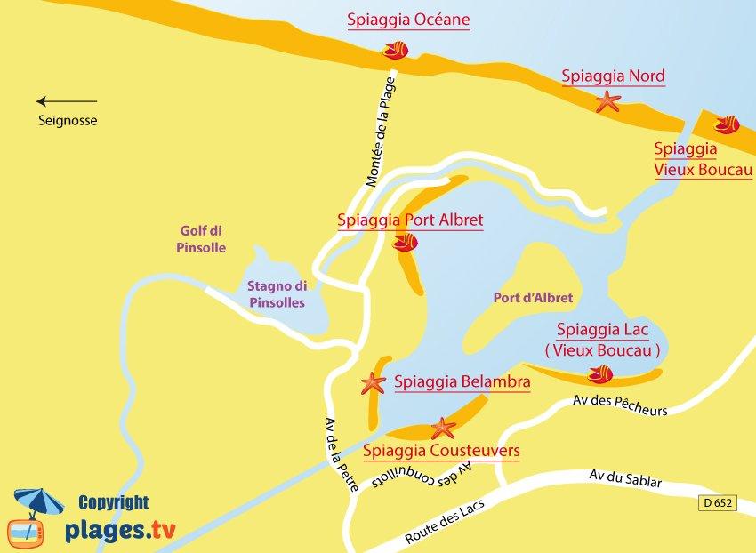 Mappa spiaggia di Soustons in Francia