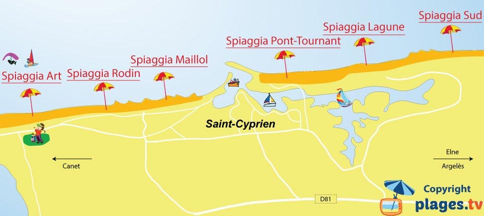 Mappa spiagge di Saint Cyprien in Francia