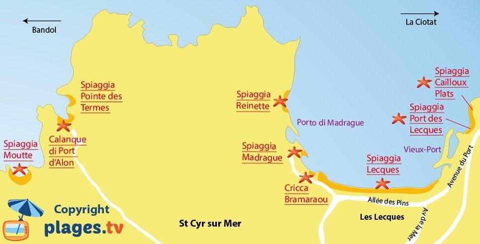 Mappa spiagge di Saint Cyr sur Mer in Francia