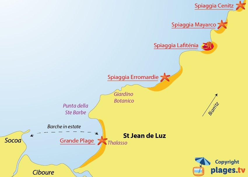 Mappa spiagge di Saint Jean de Luz - Francia
