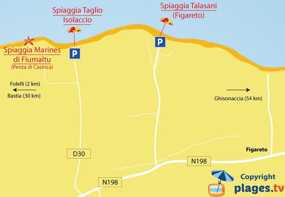Mappa spiagge di Taglio-Isolaccio - Corsica