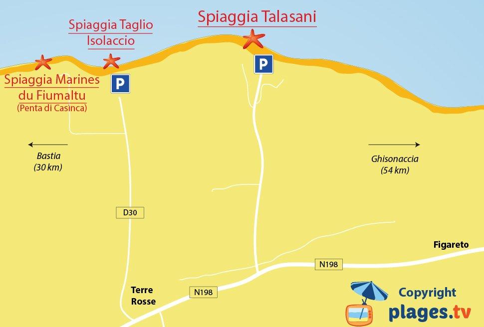 Mappa della spiaggia di Talasani e Figareto - Corsica