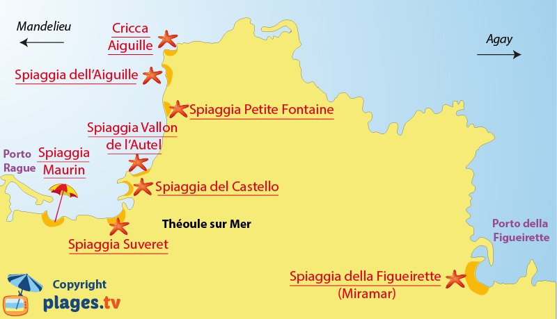 Mappa spiagge di Theoule sur Mer in Francia