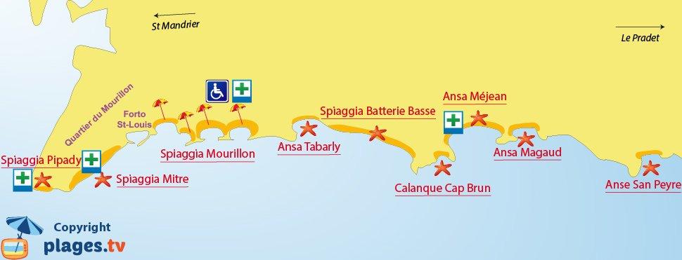 Mappa spiagge di Tolone in Francia