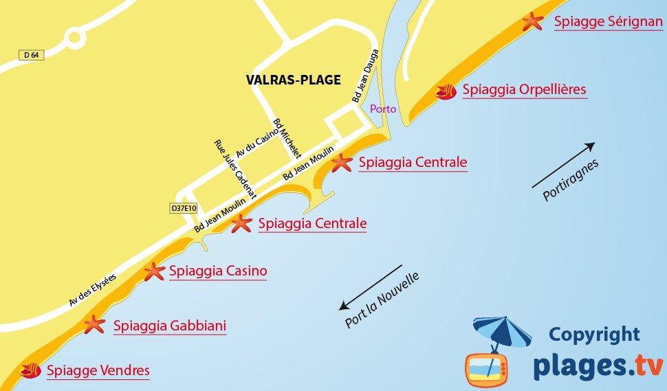 Mappa spiagge di Valras - Francia
