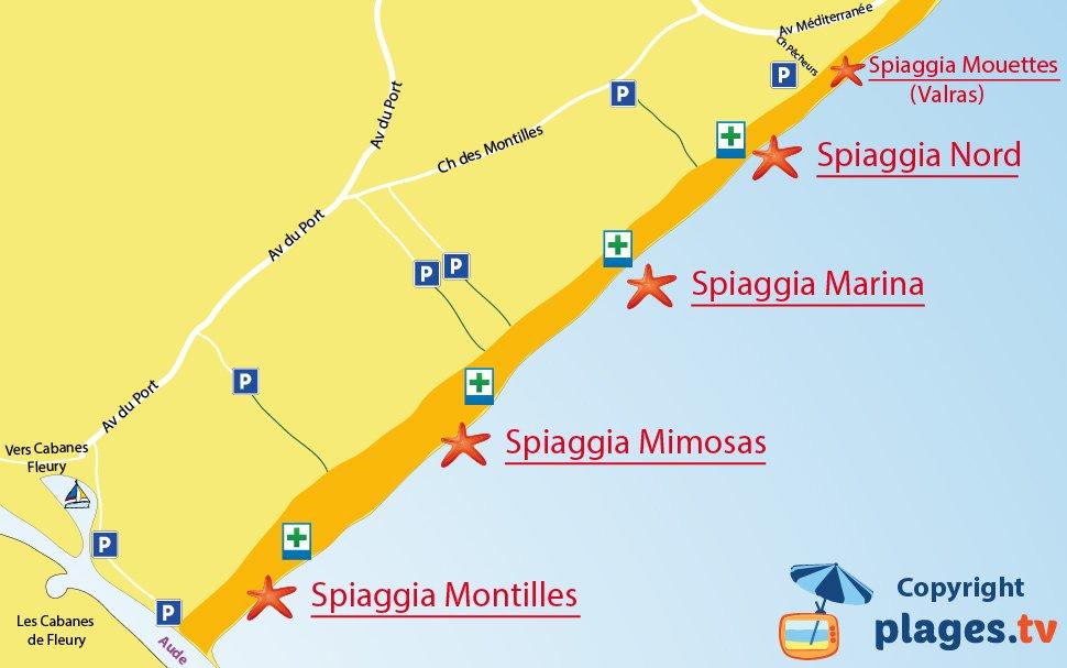 Mappa spiagge di Vendres in Francia