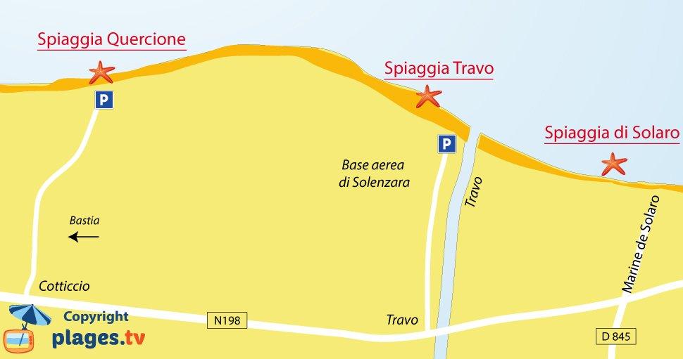 Mappa spiagge di Ventiseri - Corsica