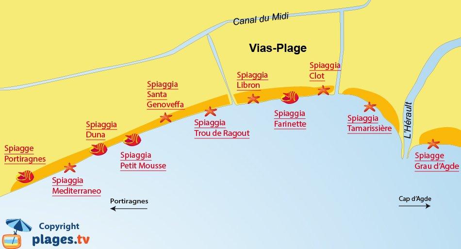 Mappa spiagge a Vias - Francia