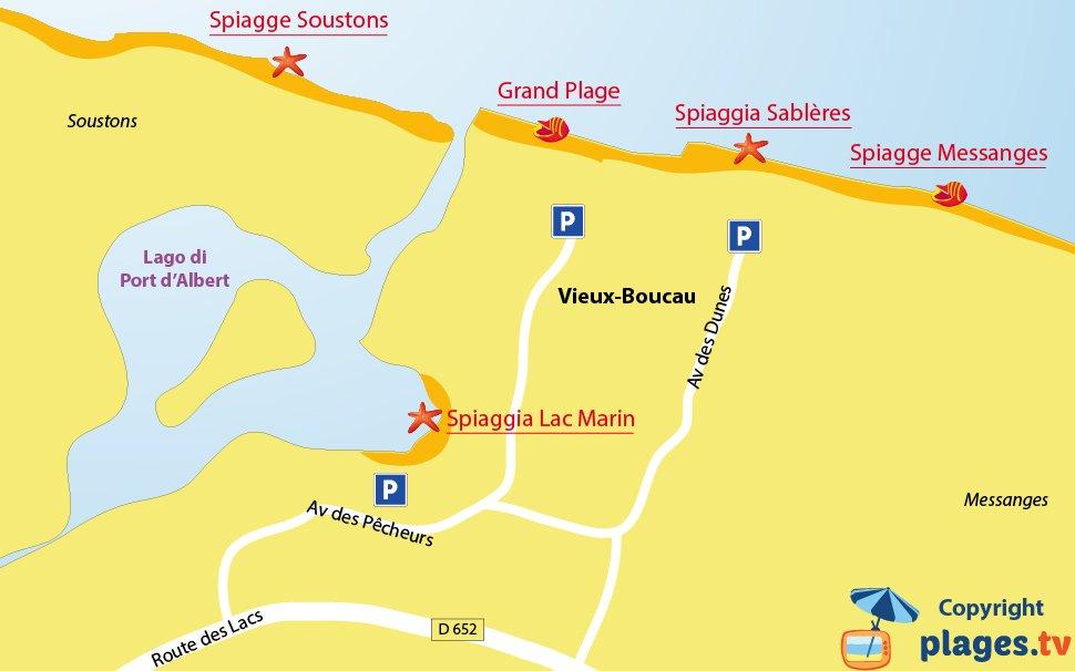 Mappa spiagge di Vieux Boucau in Francia
