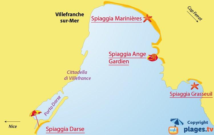 Mappa spiagge di Villefranche sur Mer - Francia