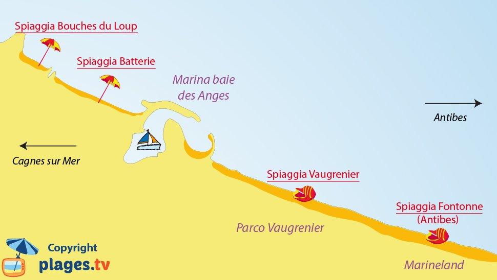 Mappa spiagge di Villeneuve-Loubet in Francia