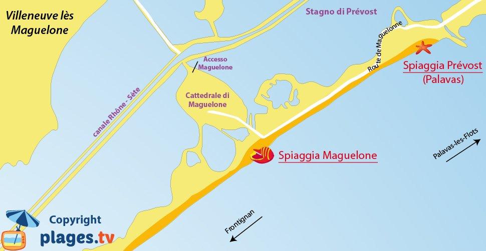 Mappa spiagge di Villeneuve les Maguelone in Francia