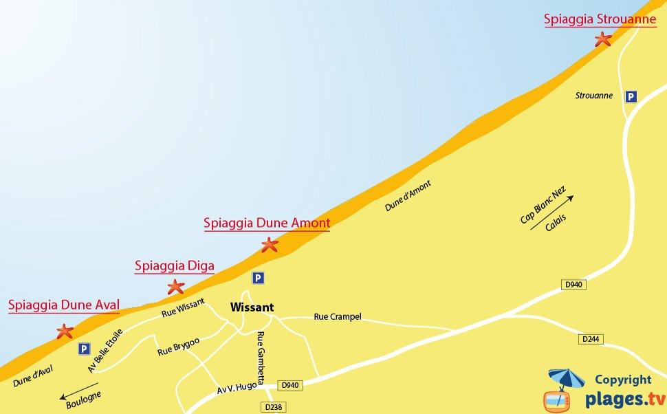 Mappa della spiagge di Wissant in Francia