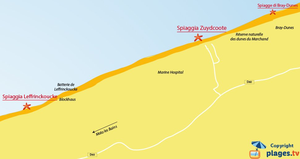 Mappa spiagge Zuydcoote in Francia