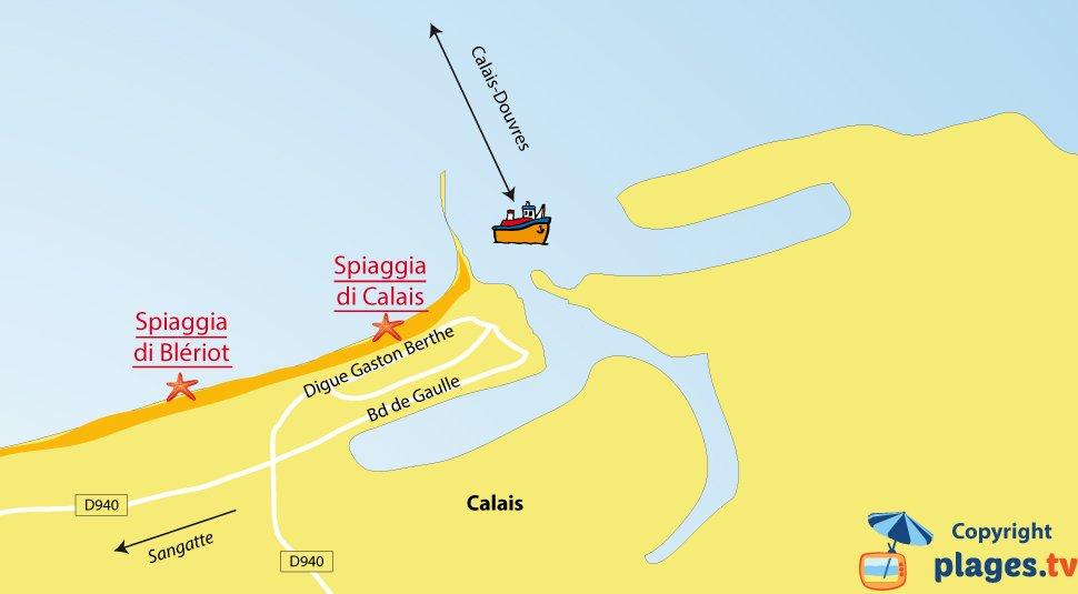 Mappa spiagge di Calais in Francia