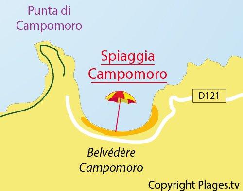 Mappa spiaggia di Campomoro in Corsica