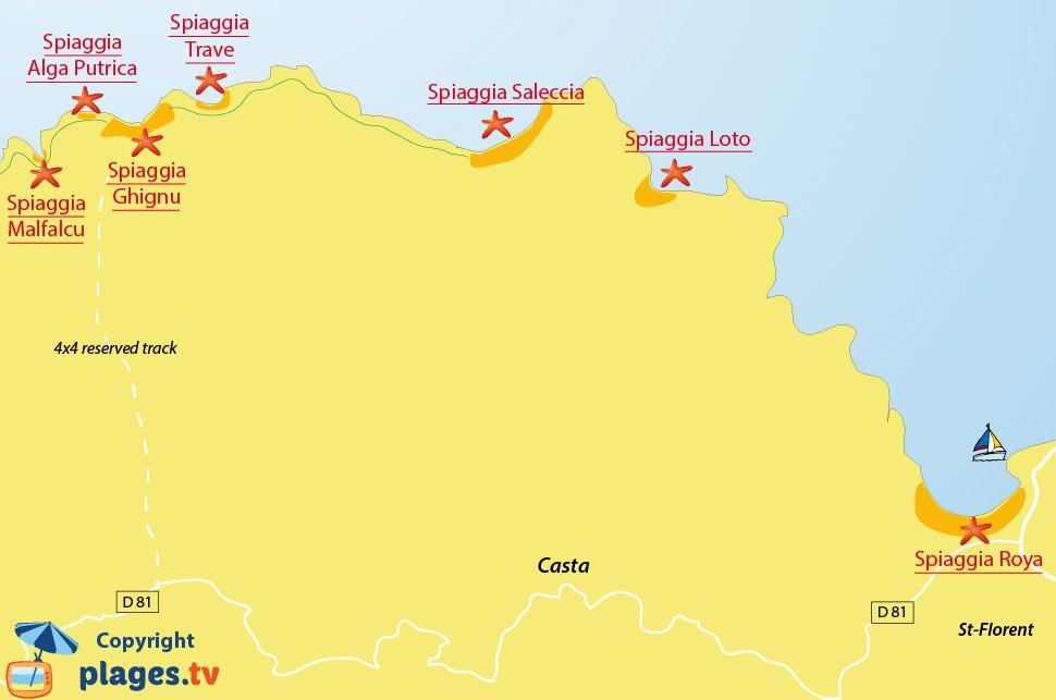 Mappa spiagge nel deserto delle Agriate in Corsica