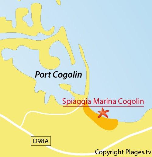 Mappa della spiaggia di Cogolin - Francia
