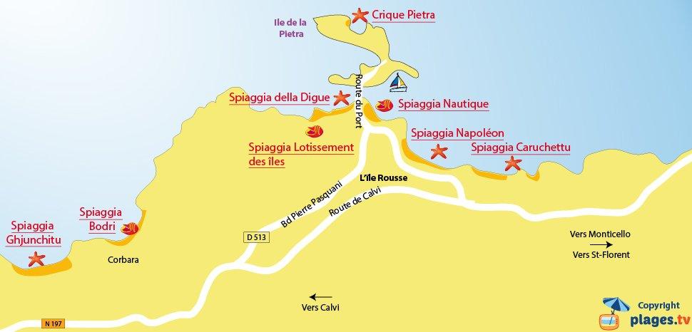 Mappa spiagge Ile Rousse - Corsica