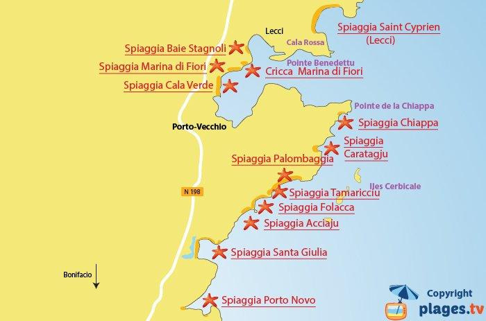 Mappa spiagge attorno a Porto-Vecchio