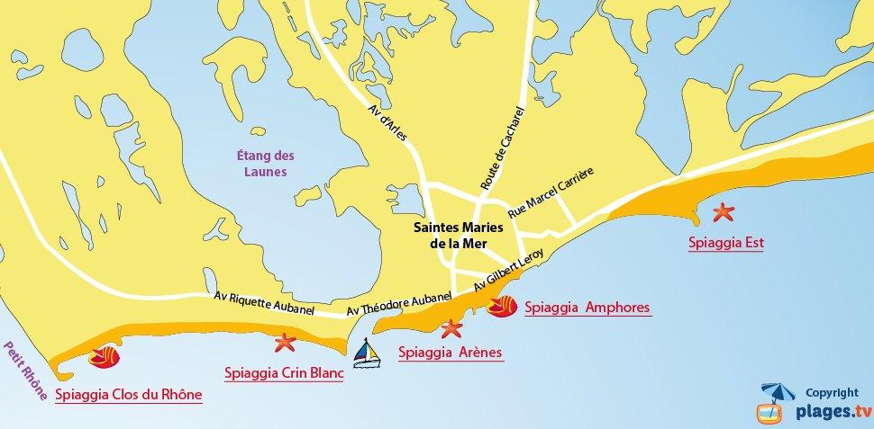 Mappa spiagge Saintes-Maries de la Mer - Francia
