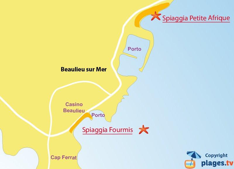 Mappa spiagge di Beaulieu sur Mer in Francia
