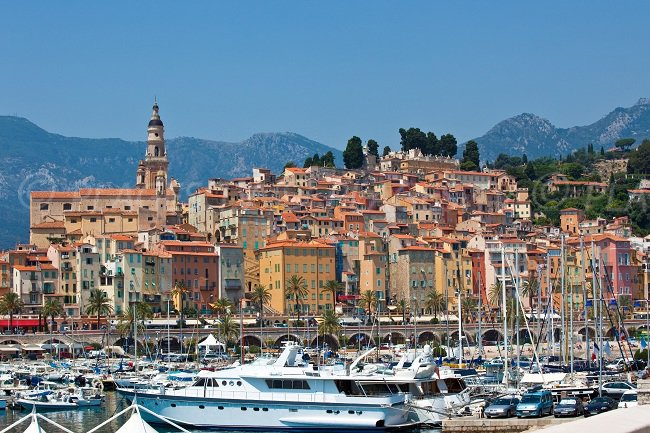 Menton on the french riviera with the port